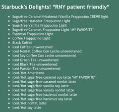 Starbuck's RNY friendly menu