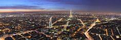 Panoraamanäkymä iltahämärän peittämään läntiseen Pariisiin, kuvattuna Tour Montparnassen huipulta.