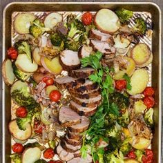 SPICE-CRUSTED PORK, POTATOES AND VEGETABLES: a delicious sheet pan dinner.