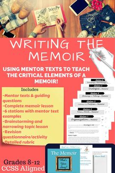 Teach your students to write a quality memoir with this unit bundle! -Mentor texts & guiding questions (numerous mentor texts provided to teach each critical element of a successful memoir). memoir stations with mentor Close Reading Lessons, Writing Lessons, Teaching Writing, Piano Lessons, School Resources, Teaching Resources, Writing Resources, Writing Ideas, Teaching Tools
