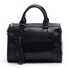 Soye Women Genuine Leather Zippered Medium Tote Top-handle Cross Body Shoulder Bag with Tassels Handbag Messenger Bag Black - http://leather-handbags-shop.com/soye-women-genuine-leather-zippered-medium-tote-top-handle-cross-body-shoulder-bag-with-tassels-handbag-messenger-bag-black/