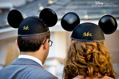 """""""Mr."""" and """"Mrs."""" embroidered Mickey Mouse ears #Disney"""