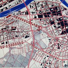 Real City, Frankfurt: Map of Oberrad/Offenbach, 1986 (velograph, hand-coloured, w/c & coloured pencil)