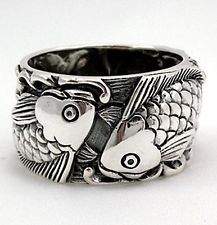 NEW JAPANESE CARP KOI FISH LUCKY TATTOO SOLID 925 STERLING SILVER RING ...