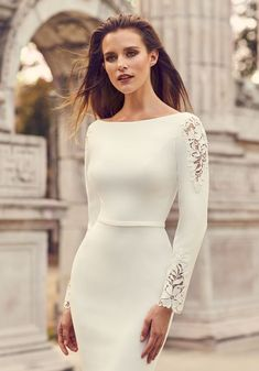 View Crêpe Sleeve Lace Detail Wedding Dress - Style from Mikaella Bridal. Crêpe gown with boat neckline and Lace appliqués on back and sleeves. Fit and flare skirt with shaped seams at back. Western Wedding Dresses, Modest Wedding Dresses, Wedding Dress Styles, Elegant Dresses, Bridal Dresses, Lace Wedding, Gown Wedding, Dresses Uk, Fall Dresses