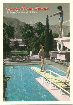 "Palm Springs CA ""Swimming Pool, The El Mirador Hotel 1950's"" Postcard California"