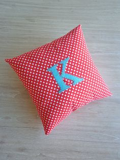 Alphabet Pillow Red Polka Dot Cushion with Aqua by AlphabetMonkey, $25.00