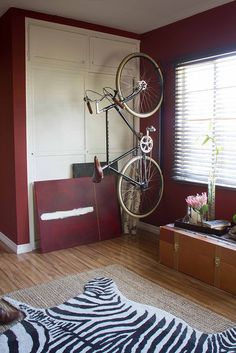 Michael's Artistic Koreatown Den Vertical Bike Rack, Bike Decorations, Bike Storage Rack, Bicycle Rack, Creative Storage, House Tours, Layout Design, Kids Rugs, Indoor