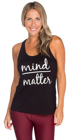 Always remember to keep your mind over matter! Say it loud and proud with this relaxed fitting racer back slogan tank. Let your tank do the talking! Silver Icing, Mind Over Matter, Slogan, Carry On, Mindfulness, Tank Tops, Chic, Womens Fashion, Clothing