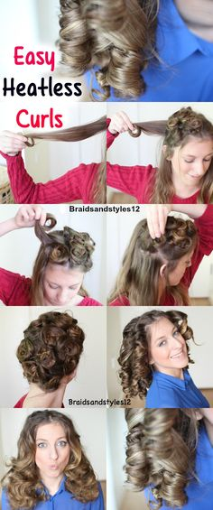 4 Easy Overnight Heatless Curl Methods. Heatless Curl Techniques by Braidsandstyles12  Tutorial: https://www.youtube.com/watch?v=O7zx25LCfBw