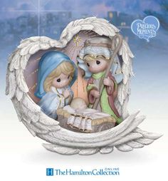 Information Online Precious Moments Heavenly Blessings Nativity Figurine with Swarovski Crystal by The Hamilton Collection Christmas Nativity, Christmas Angels, First Christmas, Christmas Time, Christmas Ornaments, Christmas Villages, Christmas Deco, Family Shelters, Blessed Family