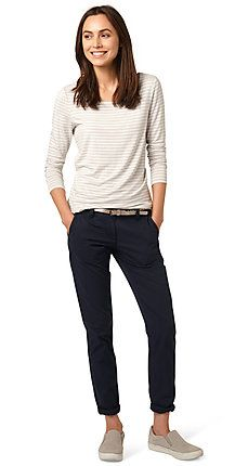 casual chinos with metallic belt for women (plain-coloured, classic button and zip fasteners) - TOM TAILOR