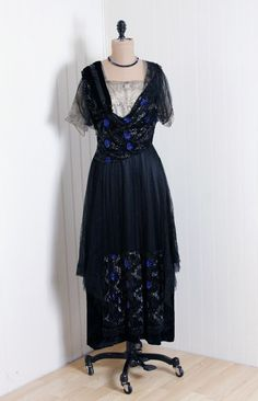 1910's Antique Beaded Dress in black and sapphire found on etsy