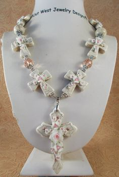 Christian Cowgirl Necklace Set  Chunky White by Outwestjewelry