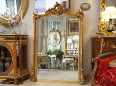 H 152 cm Miroir Ancien Doré Louis XV de Style | Grenoble Antiquites