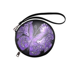 Bold, detailed butterfly pattern for nature lovers, in shades of blue & green. Purple Butterfly, Butterfly Pattern, Small Cosmetic Bags, Shades Of Purple, Black Nylons, Satin Fabric, Travel Accessories, Saddle Bags, Teal