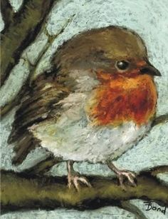 "tanya bond - the British robin.... the sweetest painting of a bird I've seen -- *Great inspiration & study of how to ""hook a bird or Robin in this case"". Paintings & drawings are such great ""visual aids""!"
