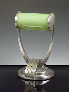 Art Deco Desk Lamp in Aluminium with Green Shade ....