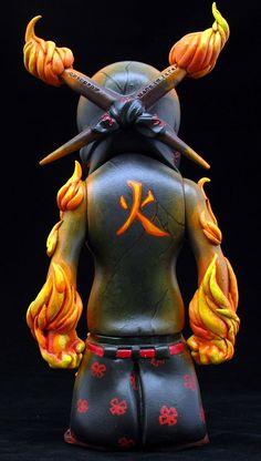 """Kagutsuchi"" | Custom Usugrow Rebel Ink Figure | Privately Commissioned | Artist: Fplus | Image 2 of 4"