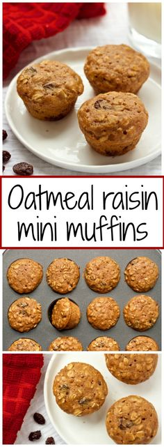 Naturally sweetened whole grain oatmeal raisin mini breakfast muffins - great for toddlers and kids! | FamilyFoodontheTable.com