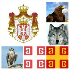 Serbian National Symbols: The Coat of Arms and The Tetragrammatic Cross. The cross is usually shown white on a red background but also appears red on a gold background. The wolf, eagle and falcon are unofficial national symbols. The Coat of Arms is closely based on the family arms of the Obrenović dynasty.