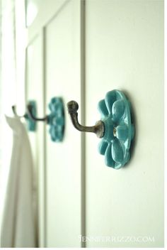 our light and bright before and after bathroom, bathroom ideas, home decor, Hooks from Anthroplogie