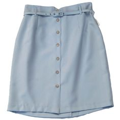 80s 90s deadstock pastel blue button down belted high waist skirt sz l (€27) ❤ liked on Polyvore featuring skirts, bottoms, blue, clothes - skirts, blue high waisted skirt, belted skirts, 80s skirt, blue skirt and high-waisted skirts