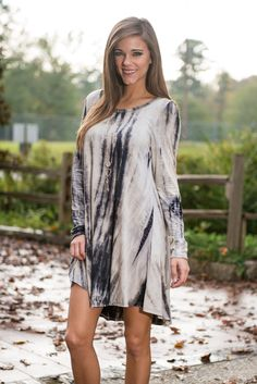 Tie Dye Want You To Want Me Dress, Navy-Gray Item #: 47010 $40.00