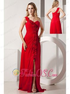 Red Empire One Shoulder Hand Made Flowers Prom / Evening Dress Brush Train Chiffon  http://www.fashionos.com   custom made prom dresses | fitted and sexy dress | a dress of elegance for your prom | fabulous and stunning dress | cheap prom dress | flowy prom dresses | flowing dancing dress |
