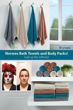 Norwex Bath Towels and Body Packs. Lightweight, soft and supple, they are made from super-absorbent Norwex Microfiber containing the self-purifying properties of our BacLock™* agent.