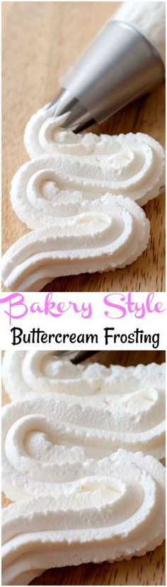 Easy to make bakery style homemade buttercream frosting, never buy store bought frosting again with this homemade frosting recipe. Homemade buttercream is perfect for making cakes. BUttercream frosting tastes just like a bakery! Bakery Style Buttercream Frosting Recipe, Homemade Frosting Recipes, Cupcake Recipes, Cupcake Cakes, Icing Recipes, Cake Icing, Best Buttercream Icing, Fluffy Frosting, Vanilla Icing