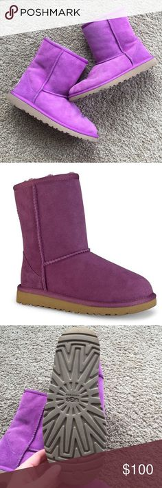 Ugg Purple Classic Short Boot These boots have been worn ONCE! No damage or discoloration. Smoke and pet free home. No trades. Offers welcome! UGG Shoes
