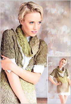 фото женского пуловера с ажурным узором