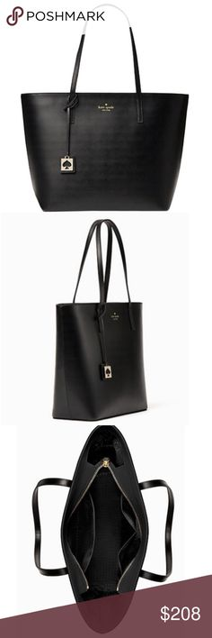 "Kate Spade black leather tote Brand new with tag. Smooth leather black tote in medium size. Dimension: 11"" H x 15"" W x 5"" D. No trades  kate spade Bags Totes"