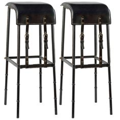 Jacques Adnet, Pair of leather bar stools, France, c. 1950 | See more antique and modern Stools at https://www.1stdibs.com/furniture/seating/stools