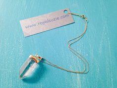 Gold Plated Quartz Gemstone Necklace ~ Clear Quartz or Amethyst Pendant
