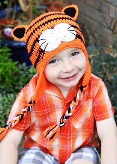 Crochet Tiger   earflap beanie hat in orange and black