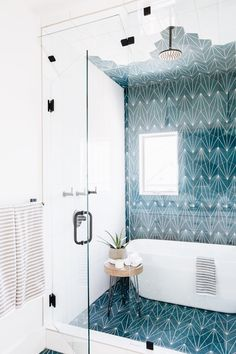 Cheap Home Decor kids bathroom ideas: tub inside a shower.Cheap Home Decor kids bathroom ideas: tub inside a shower Bathroom Kids, Modern Bathroom, Small Bathroom, Blue Bathrooms, Shared Bathroom, Blue Bathroom Tiles, Funky Bathroom, Condo Bathroom, Minimal Bathroom