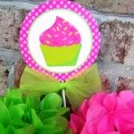 Hot Pink and Lime Green Cupcake Birthday Party Centerpiece