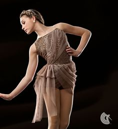 Curtain Call Costumes® - Feelings Latte Silhouette poly/spandex boy short leotard with sequin lace bodice overlay, and attached sheer motion mesh bodice drape and skirt. INCLUDES: rhinestone headband. https://curtaincallcostumes.com/products/product-page-t.php?prodid=7555