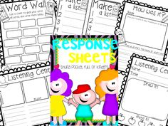 Pocket Full of Kinders!: Center Response Sheets FREE