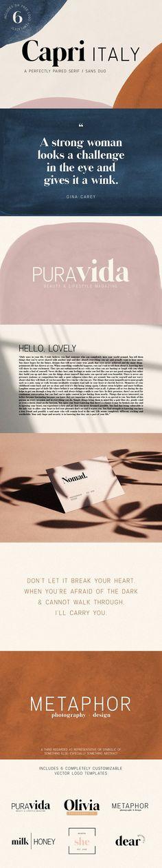 Capri Font Duo w/ 6 Bonus Logos ~ Sans Serif Fonts ~ Creative Market Logo Branding, Branding Design, Logo Design, Web Design, Branding Ideas, Creative Design, Design Art, Print Design, Sans Serif