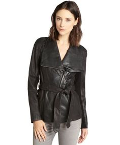 Andrew Marc black leather 'London 25' belted oversized collar jacket