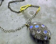 Moonstone, diamond, oxidized sterling silver and yellow gold necklace