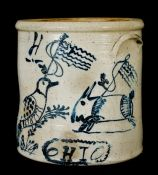 Ohio Stoneware Patriotic Crock w/ Rabbit and Bird Decorations, circa 1876 Antique Crocks, Old Crocks, Antique Stoneware, Stoneware Crocks, Earthenware, Glazes For Pottery, Ceramic Pottery, Ceramic Art, Glazed Pottery