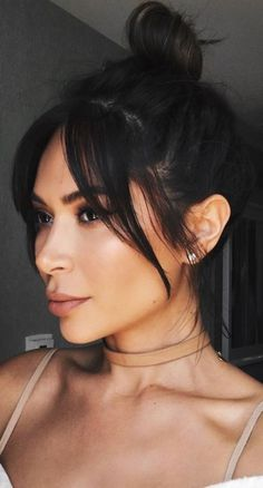 55 Ideas Hair Brunette Fringe Fashion For 2019 Hairstyles With Bangs, Trendy Hairstyles, Long Fringe Hairstyles, Short Haircuts, Side Bang Haircuts, Middle Part Hairstyles, Haircut Short, Hair Styles 2014, Curly Hair Styles