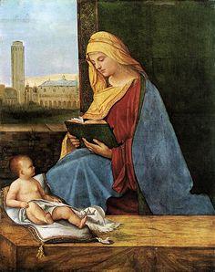 Madonna leggente ,1505,Giorgione Conservata nel Ashmolean Museum di Oxford.E' una composizione asimmetrica ma completamente bilanciata, la madonna è rivolta di tre quarti e il bambino è disteso mentre guarda la madre. dietro si scorge, dalla finestra, la piazza  di San marco a Venezia.  Sembra che la madonna non legga le Sacre scritture, quindi si avrebbe una rivendicazione delle donne per il loro difficile  accesso al mondo della lettura, in quel periodo,  prevalentemente maschile…