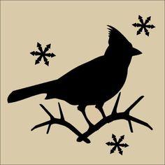 Primitive Topper Stencil Resting Cardinal Holiday Winter Bird Snowflake Season | eBay