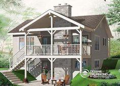 PETIT CHALET ÉCONOMIQUE ET DE BON GOÛT !  Maison style chalet, bord de l'eau, foyer double, 2 salles de séjour, 3 chambres, balcon couvert  Découvrez l'illustration arrière ainsi que les planchers de ce modèle : http://www.dessinsdrummond.com/detail-plan-de-maison/info/leslie-champetre-1002818.html