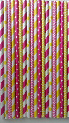 50 Pink Lemonade Party Paper Straws- Hot Pink & Yellow Stripe Chevron Dot Straws, Mason Jars Straws,Rustic Wedding, Birthday Party Bridal Shower, Baby Shower $5.99